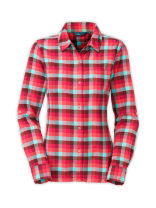 WOMEN'S LONG-SLEEVE HERRINGBONE CHECK SHIRT