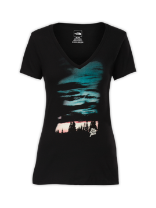 WOMEN'S SHORT-SLEEVE SUNSET SKY V-NECK TEE