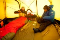 the north face athletes in dome tent