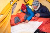 Hilaree O'Neill in The North Face dome tent
