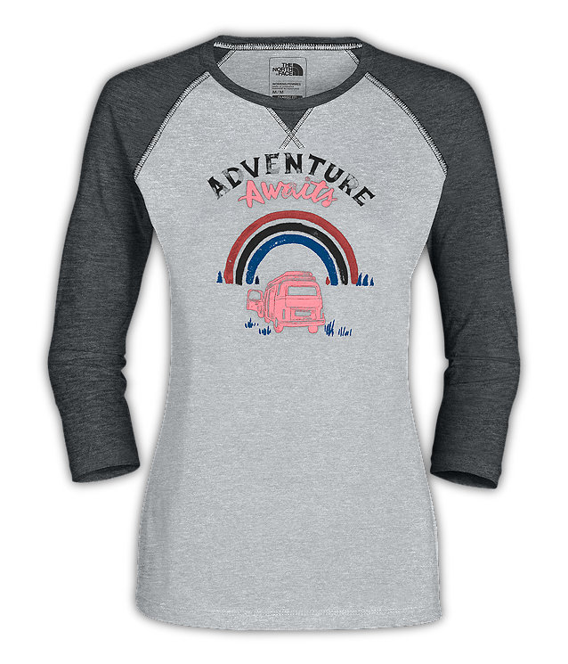 WOMEN'S ¾ SLEEVE ADVENTURE AWAITS TEE