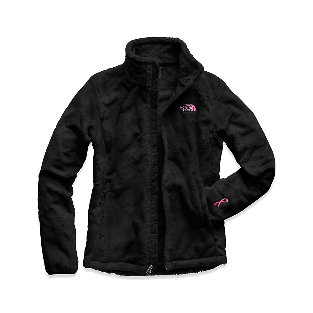 Black north face jacket with pink writing