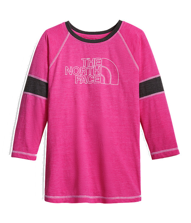 GIRLS' 3/4 SLEEVE TRI-BLEND TEE