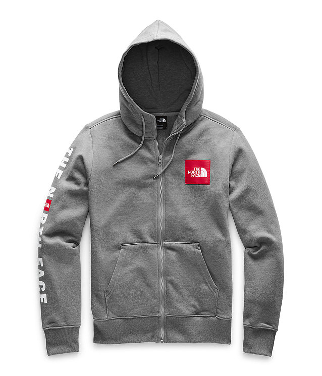Men's Red Box Patch Full-Zip Hoodie