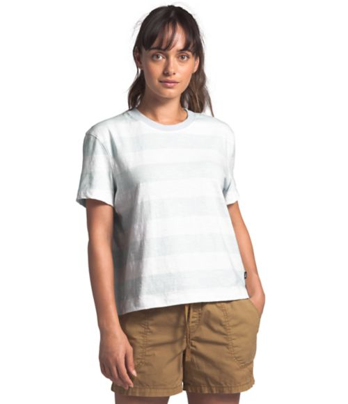 Women's Short Sleeve Stripe Knit Top-