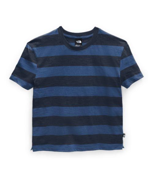 Women's Short Sleeve Stripe Knit Top-
