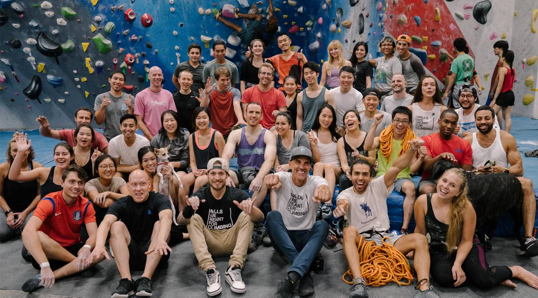 North Face Global Climbing Day group photo at indoor gym