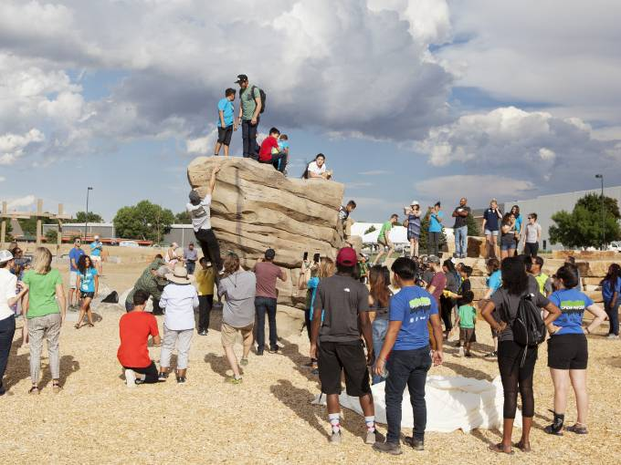 Walls Are Meant For Climbing Public Climbing Boulder in Montbello Open Space Park in Denver