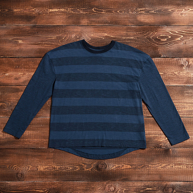 Women's Stripe Knit Long-Sleeve T-Shirt-